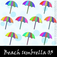 Free Beach Umbrella Embellishments, Scrapbook Downloads, Printables, Kit