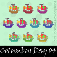 Free Columbus Day SnagIt Stamps, Scrapbooking Printables Download