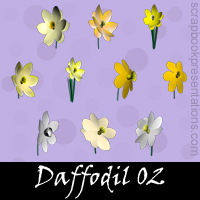 Free Daffodil SnagIt Stamps, Scrapbooking Printables Download