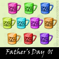 Free Father's Day Embellishments, Scrapbook Downloads, Printables, Kit