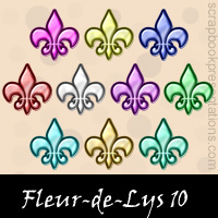 Free Fleur-de-Lys Embellishments, Scrapbook Downloads, Printables, Kit