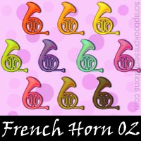 Free French Horn Embellishments, Scrapbook Downloads, Printables, Kit