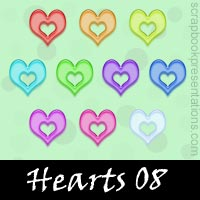 Free Hearts Embellishments, Scrapbook Downloads, Printables, Kit