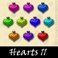 Free Hearts SnagIt Stamps, Scrapbooking Printables Download