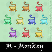 Free Monkey SnagIt Stamps, Scrapbooking Printables Download