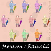 Monsoon / Rains Scrapbook Embellishments
