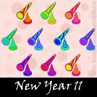 Free New Year Embellishments, Scrapbook Downloads, Printables, Kit