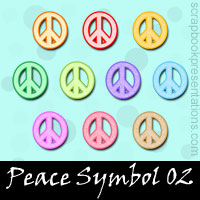 Free Peace Symbol Embellishments, Scrapbooking Printables Download
