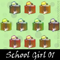 Free School Girl Embellishments, Scrapbook Downloads, Printables, Kit
