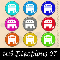 US Elections Scrapbook Embellishments