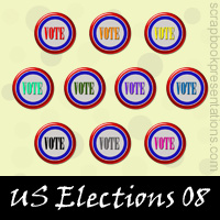 Free US Elections Embellishments, Scrapbook Downloads, Printables, Kit