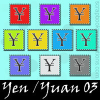 Free Yen / Yuan SnagIt Stamps, Scrapbooking Printables Download